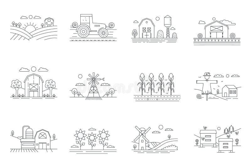 L'azienda agricola e la linea sottile icone dei campi di azienda agricola hanno isolato Agricoltura e coltivare l'illustrazione d royalty illustrazione gratis