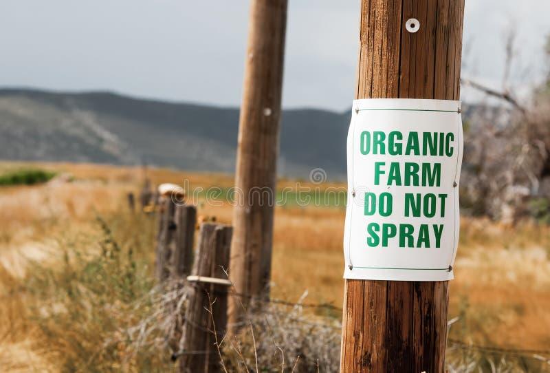 L'azienda agricola organica non spruzza il segno America rurale fotografie stock libere da diritti