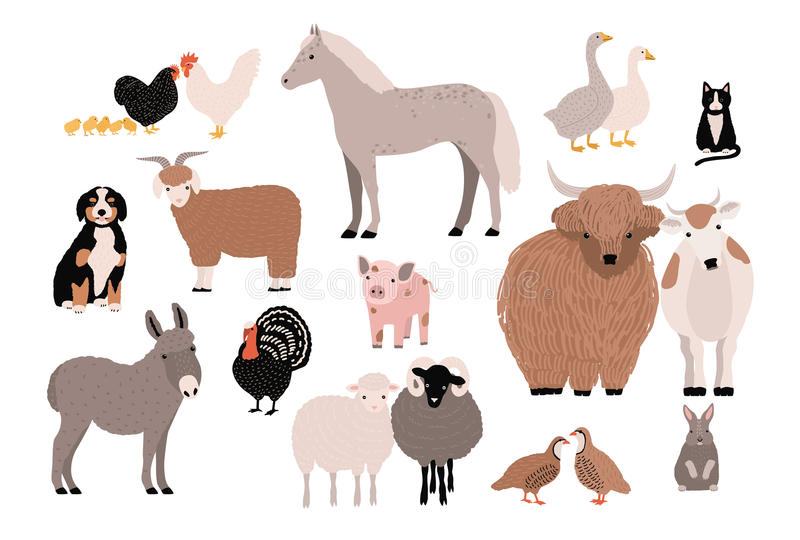 L'azienda agricola pets la raccolta variopinta Animali domestici svegli impostati Illustrazione disegnata a mano di vettore su fo