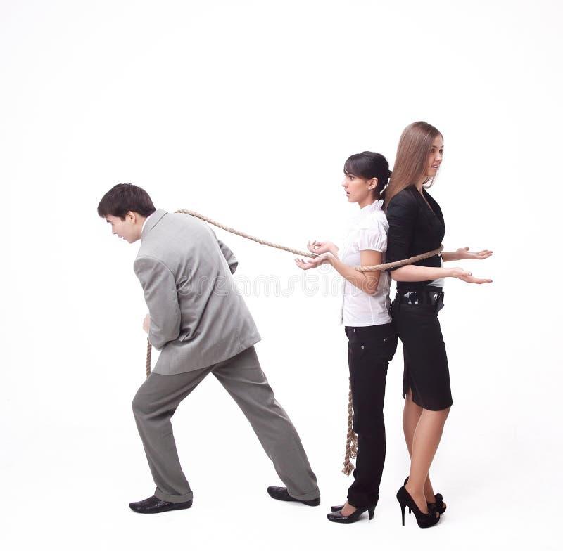 L'azienda leader conduce il gruppo collegato di affari, concetto di affari Isolato su bianco immagini stock