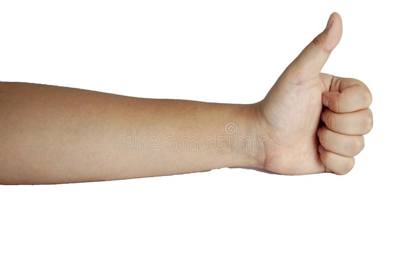 l'azione della mano dell'uomo su fondo bianco ha percorso fotografie stock libere da diritti