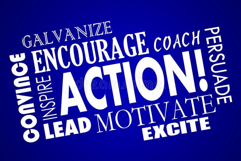 L'azione incoraggia motiva ispira l'allenatore Word del vantaggio illustrazione vettoriale