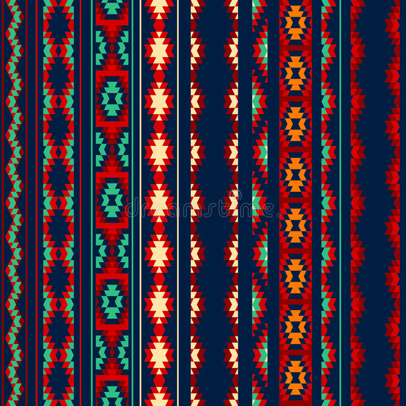 L'Aztèque bleu orange rouge coloré a barré le modèle sans couture ethnique géométrique d'ornements illustration stock