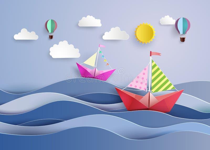 L barco e balão de navigação do papel ilustração royalty free