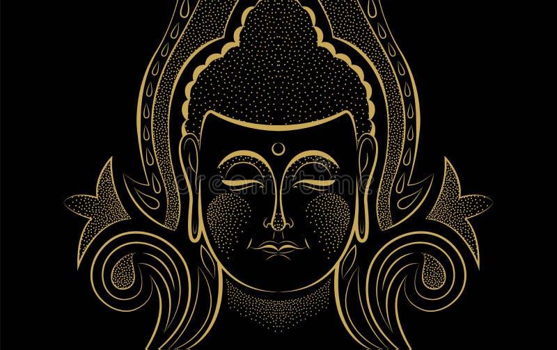 L'or Bouddha font face au concept asiatique traditionnel d'art illustration libre de droits