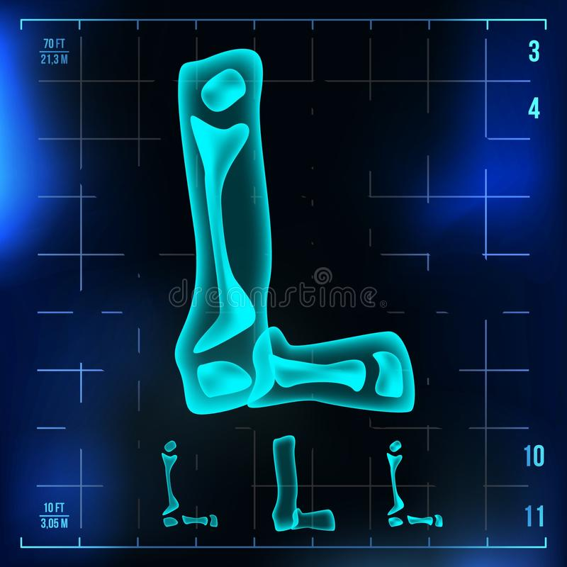 L Buchstabe-Vektor Hauptstelle Röntgenröntgenstrahl-Guss-Licht-Zeichen Medizinische Radiologie-Neonscan-Effekt Alphabet Blau 3D lizenzfreie abbildung
