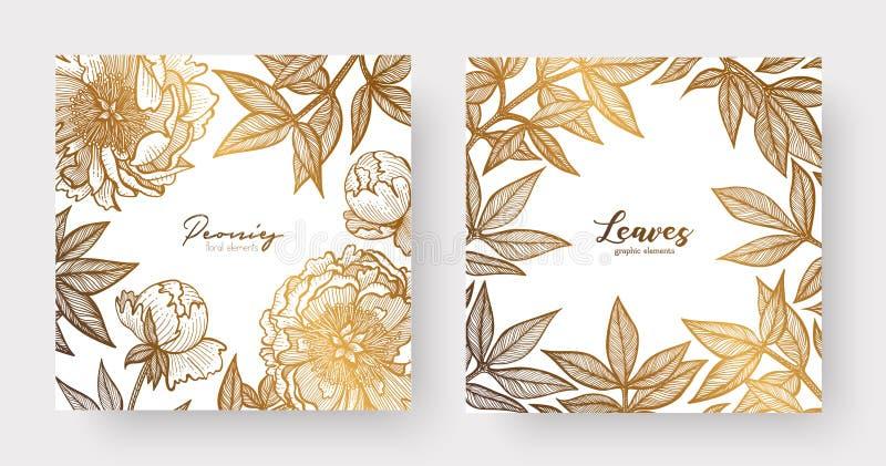 L'or carde des calibres pour épouser la papeterie, avec le style de vintage, ou pour beaucoup d'autres projets de conception comp illustration stock