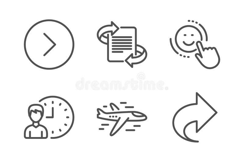 L?cheln-, Marketing- und Flugzeugikonensatz Vorw?rts Arbeitsstunden und Anteilzeichen Positives Feedback, Artikel Vektor vektor abbildung