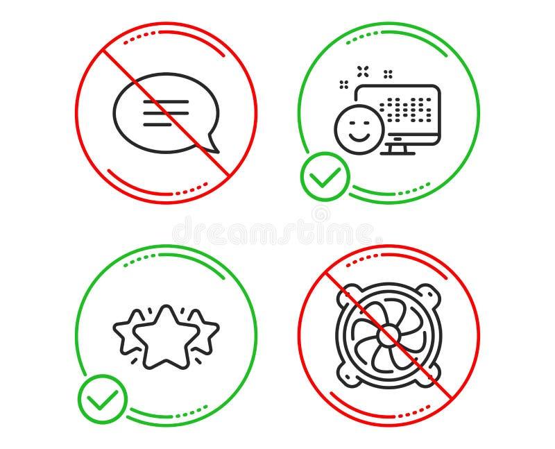 L?cheln-, Stern- und Schw?tzchenikonensatz Computerfanzeichen Positives Feedback, Lieblings, Spracheblase PC-Ventilator Vektor lizenzfreie abbildung