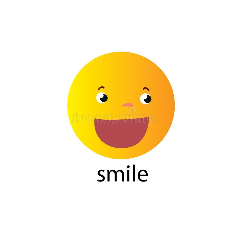 L?chelnikonen-Schablonendesign Lächelndes Emoticonvektorlogo auf weißem Hintergrund Aufhauenkunstart - Vektor lizenzfreie abbildung