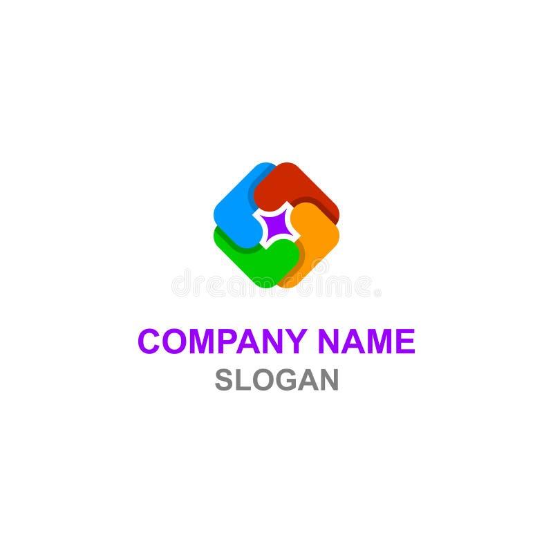 L coloré initiale de lettre dans le logo carré de forme illustration libre de droits
