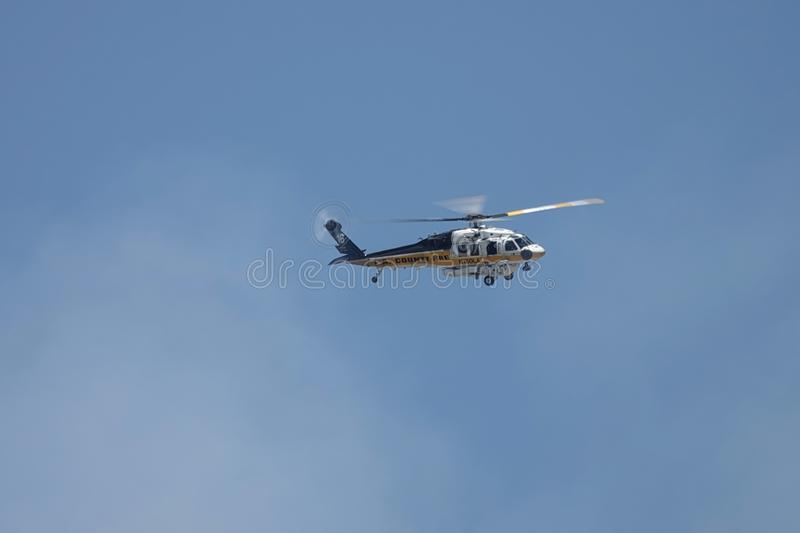 Los Angeles Fire Department Helicopter Editorial Stock Image