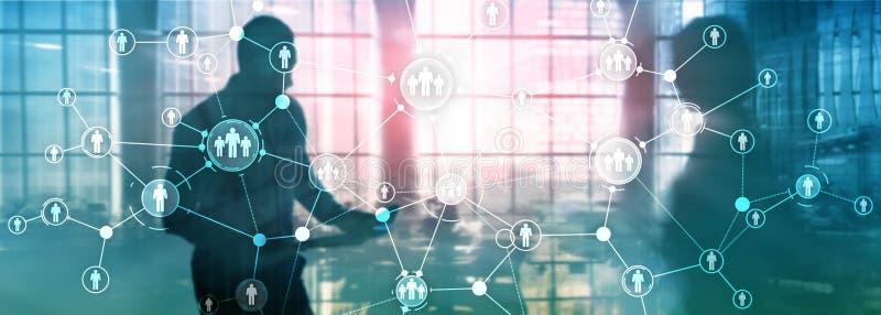 L'?cran virtuel de structure d'organisation de relation de peuples de gestion de ressources humaines d'heure a m?lang? la double  photos stock