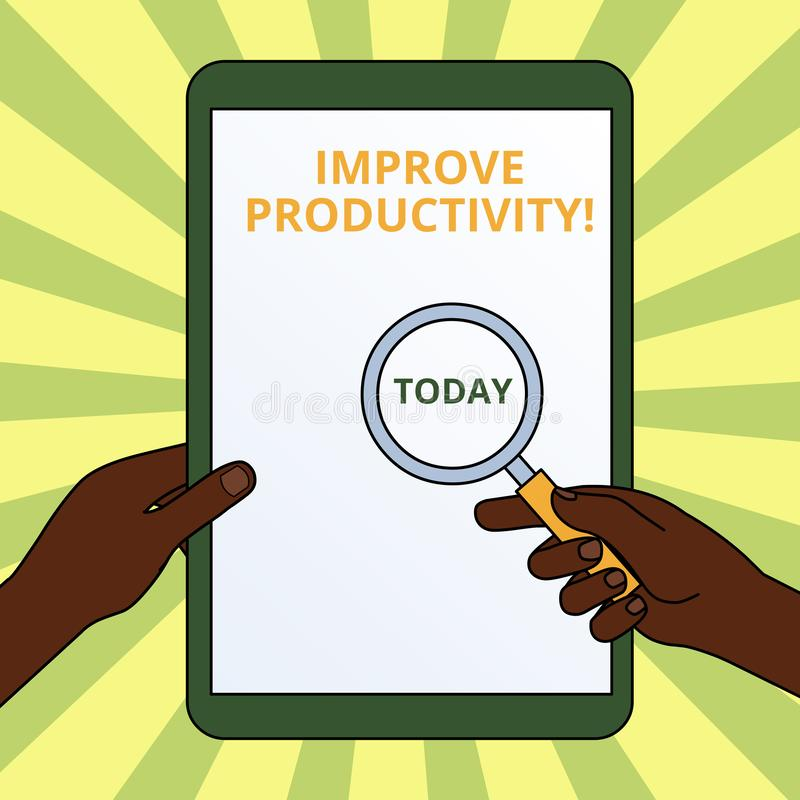 L'?criture des textes d'?criture am?liorent la productivit? La signification de concept augmentent la qualit? du temps et du Perf illustration stock