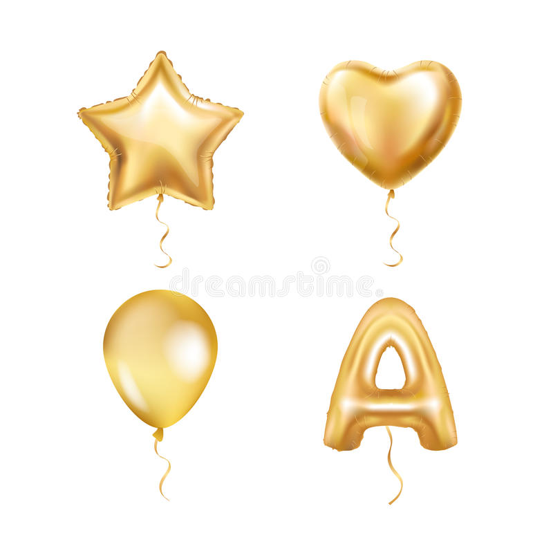 L'or d'étoile de coeur monte en ballon ABC illustration stock