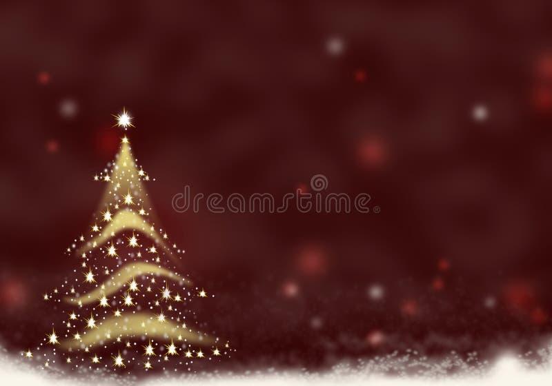 L'or d'arbre de Noël a formé de l'illustration rouge de fond de Noël de neige des textes de fond d'étoiles illustration libre de droits