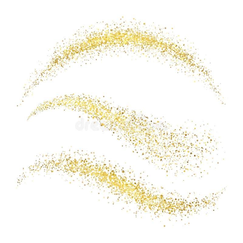 L'or d'or de charme de chimères de Noël féerique ondule avec le scintillement illustration libre de droits
