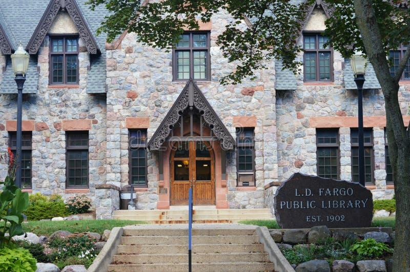 L d Fargo Public Library, molinos del lago, Wisconsin fotografía de archivo