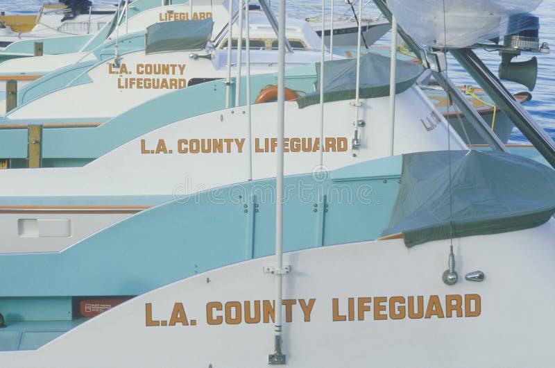 L A De Badmeesterboten van de provincie in Marina Del Rey, Californië royalty-vrije stock afbeelding