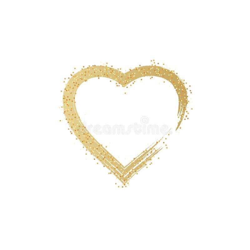 L'or de coeur, scintillent les coeurs d'or d'isolement sur le fond transparent Bannière rougeoyante de coeur d'or avec les partic illustration de vecteur