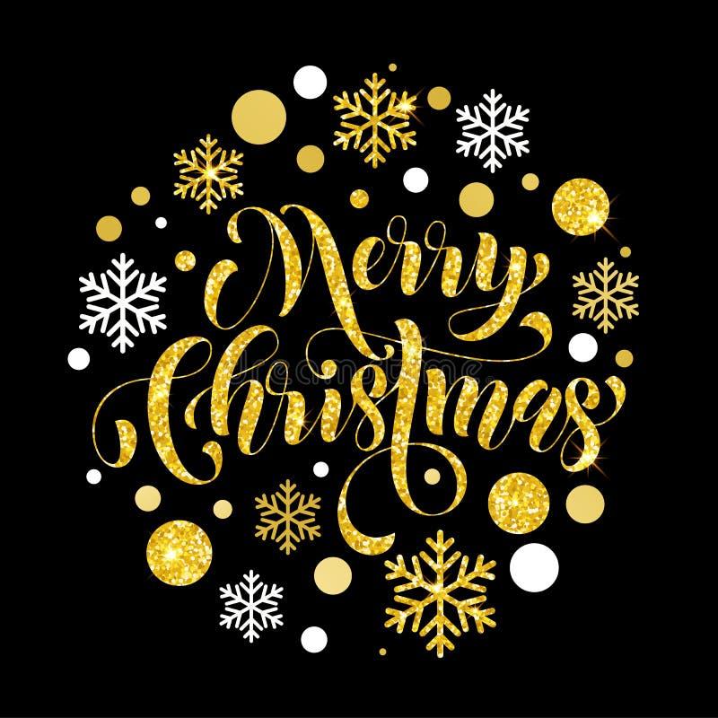 L'or de scintillement d'or décoratif de fond ornemente le Joyeux Noël illustration stock