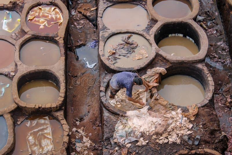 L?der som d?r i en traditionell garveri i staden av Fez arkivfoto
