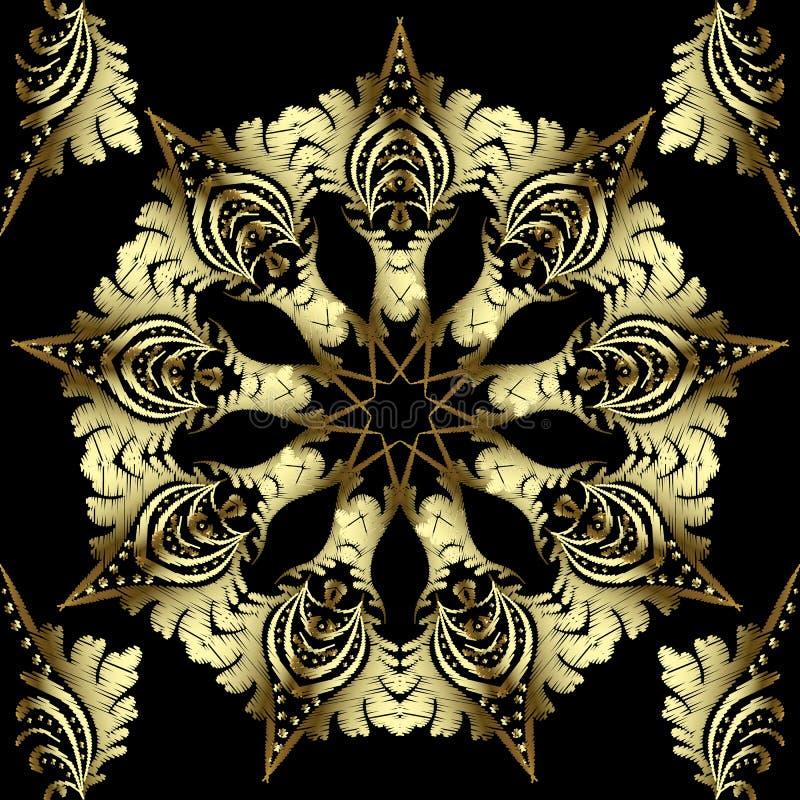 L'or a donné au modèle une consistance rugueuse sans couture de mandala floral de broderie Beau fond ornemental d'arabesque La ré illustration de vecteur
