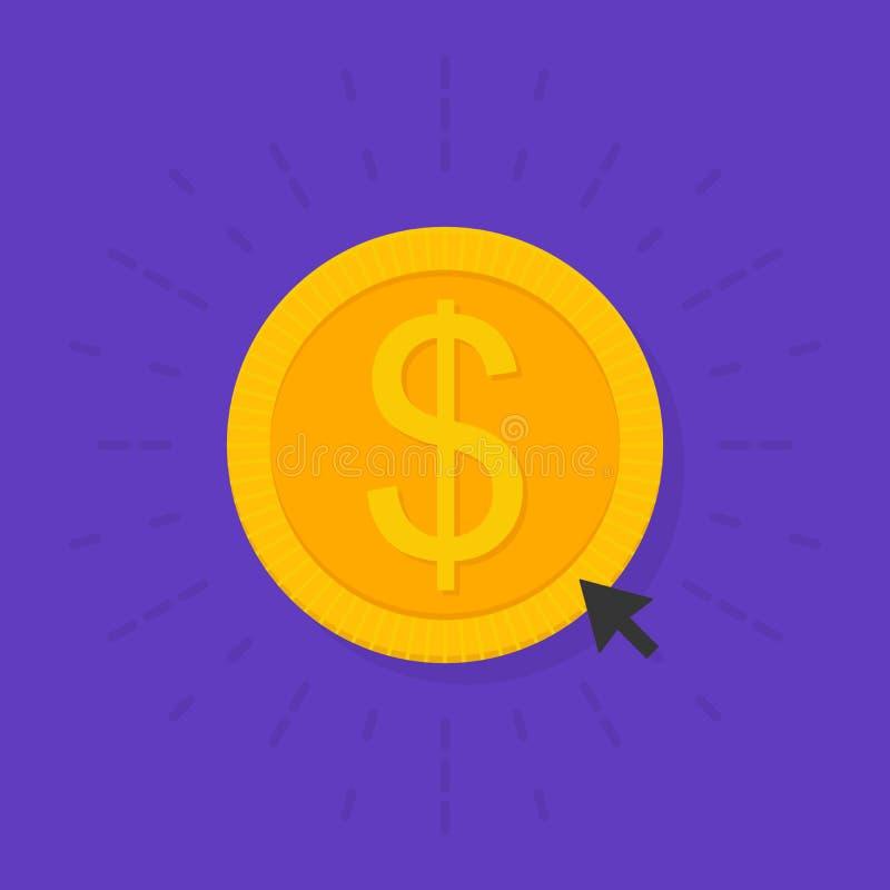 L'or donnent la pièce de monnaie de signe dans le style plat Donation des fonds Illustration de vecteur illustration libre de droits