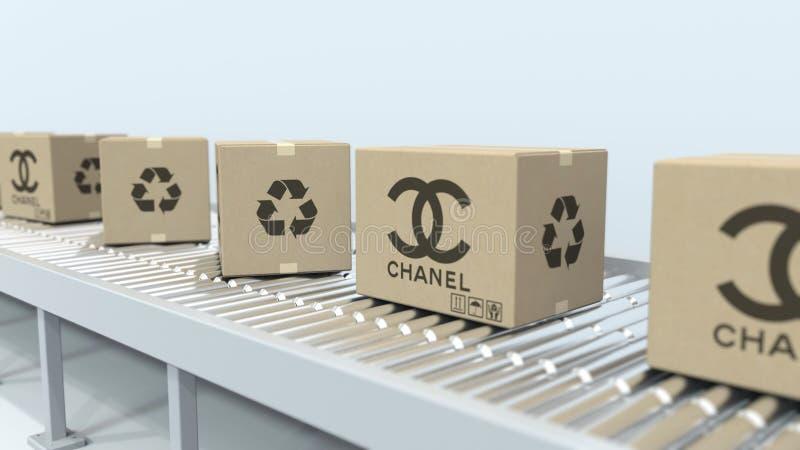 L?dor med CHANEL logoflyttning p? rulltransport?r Redakt?rs- tolkning 3D royaltyfri illustrationer