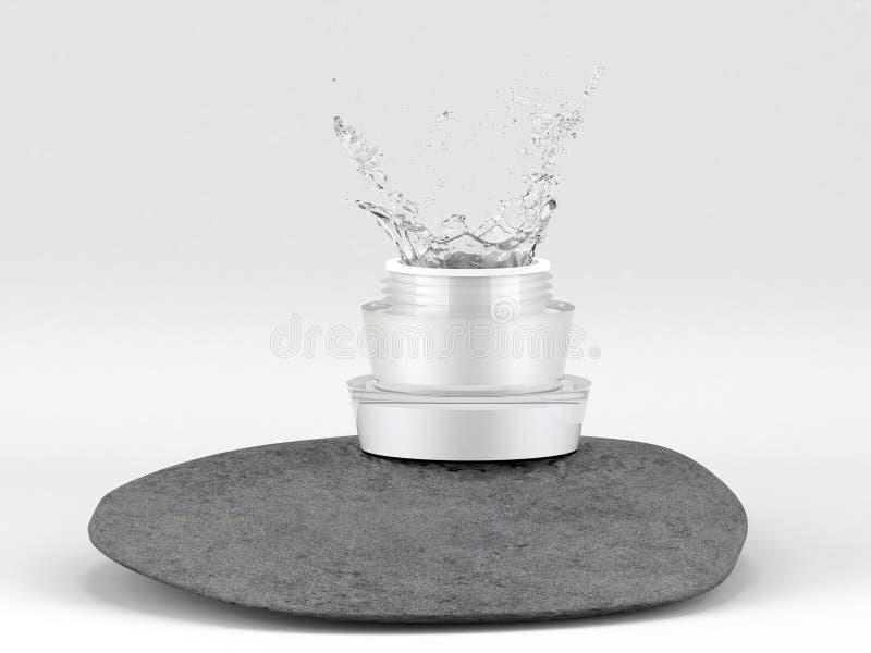 L'eau éclaboussant dans le pot cosmétique photos stock