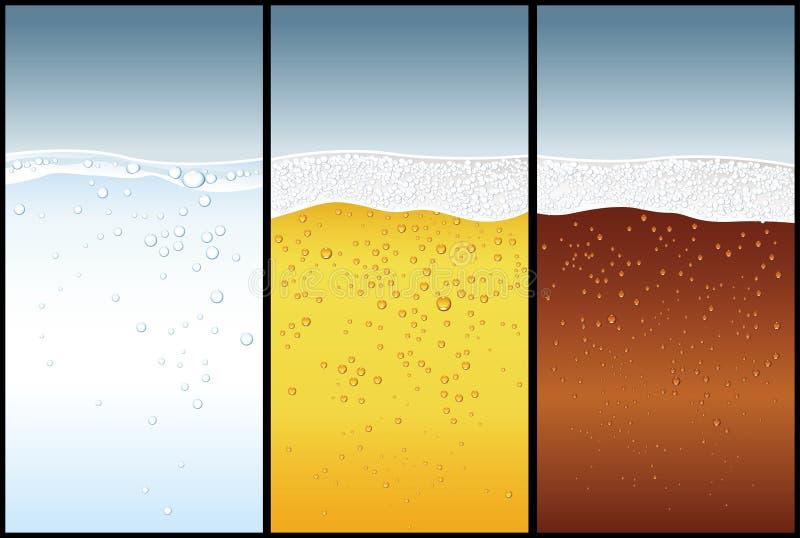 L'eau, bière, kola illustration stock