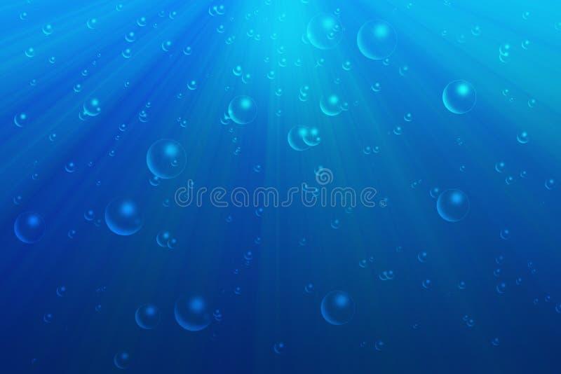 L'eau bleue avec des bulles illustration de vecteur