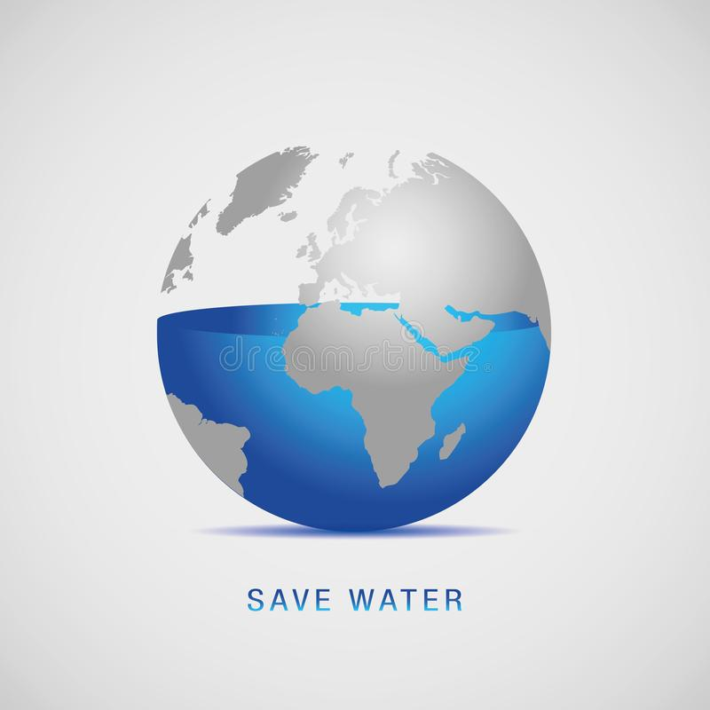 L'eau bleue d'économies de jour du monde de l'eau de la terre illustration stock