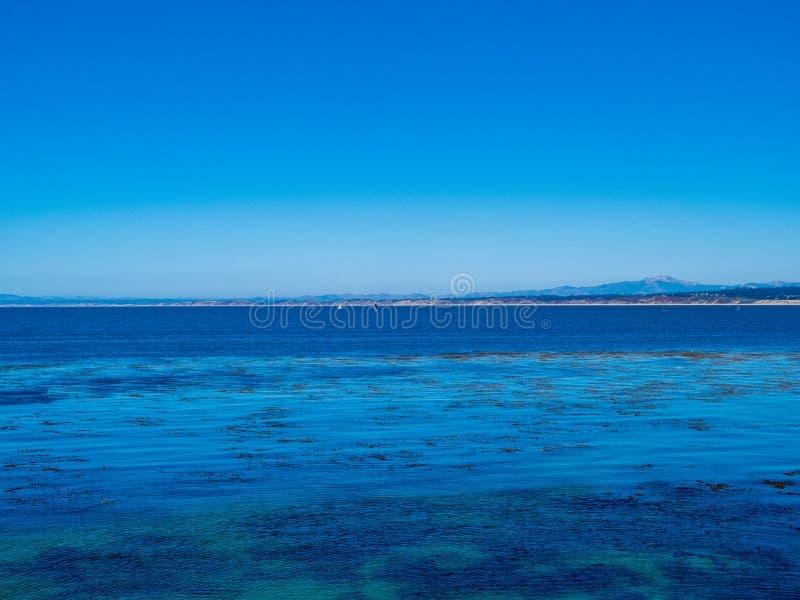 L'eau bleue tropicale, cieux clairs avec l'algue de flottement et voiliers dans l'horizon image libre de droits