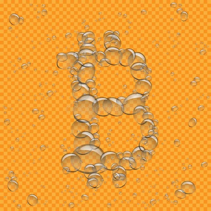 L'eau bouillonne bitcoin transparent illustration stock