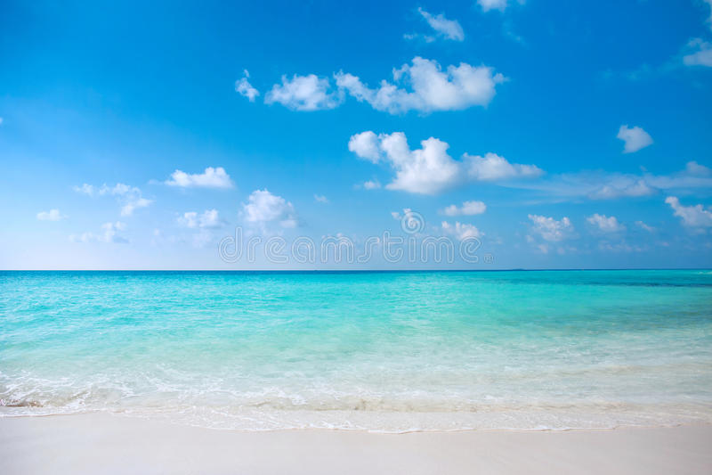 L'eau clair comme de l'eau de roche de turquoise à la plage maldivienne tropicale images libres de droits