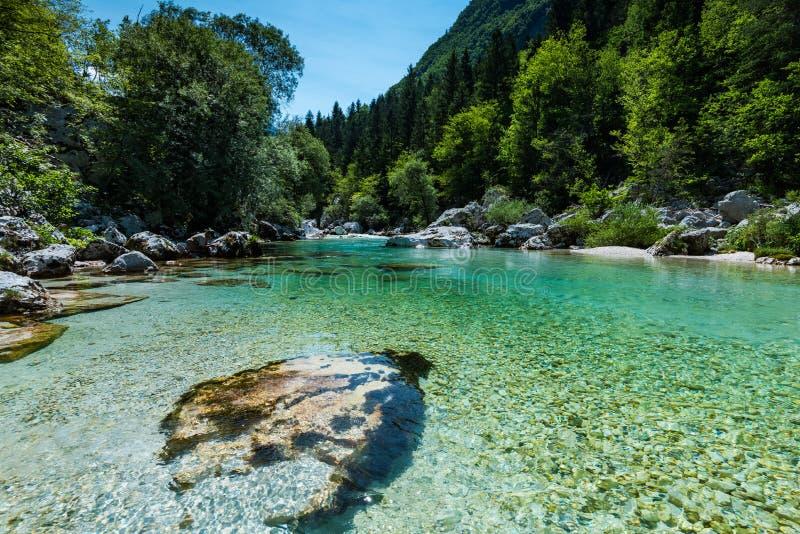L'eau clair comme de l'eau de roche en rivière de Soca, Slovénie photo stock