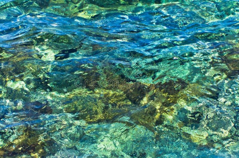 L'eau clair comme de l'eau de roche traversante évidente rocheuse de turquoise de fond sous-marin de la mer Égée photographie stock