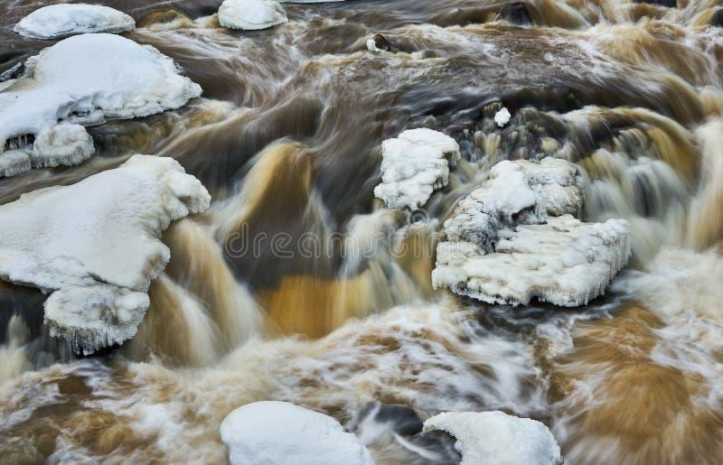 L'eau coulant librement après l'hiver images stock