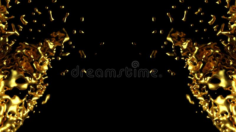 L'eau d'or avec de l'alpha matte abrégez le fond illustration stock
