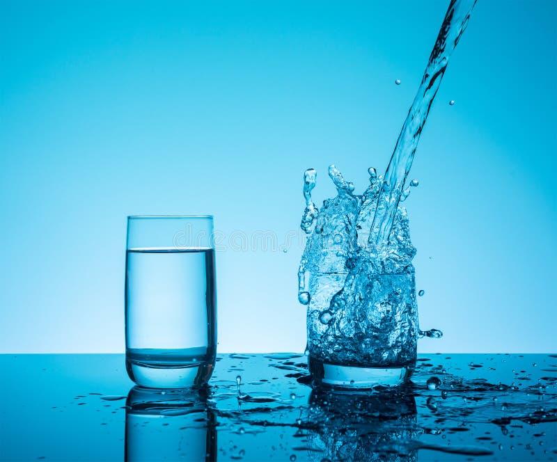 L'eau de éclaboussement reative de ¡ de Ð dans le verre photos stock