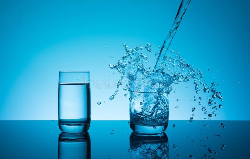 L'eau de éclaboussement reative de ¡ de Ð dans le verre image stock