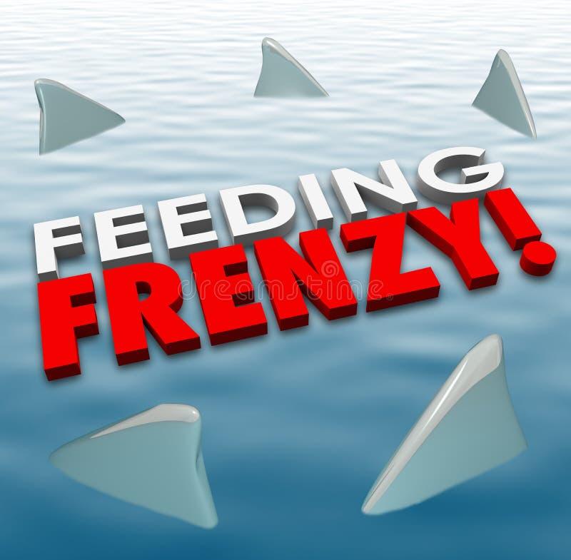 L'eau de alimentation d'ailerons de requin de frénésie adversaires affamés de concurrence illustration de vecteur