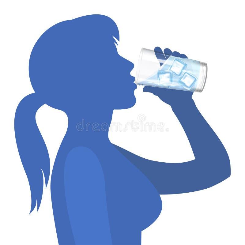 L'eau de boissons de femme style de vie sain de concept Vecteur illustration de vecteur