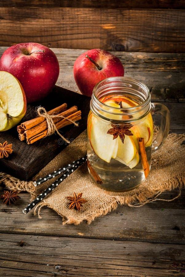 L'eau de Detox avec la pomme, la poire et la cannelle photographie stock