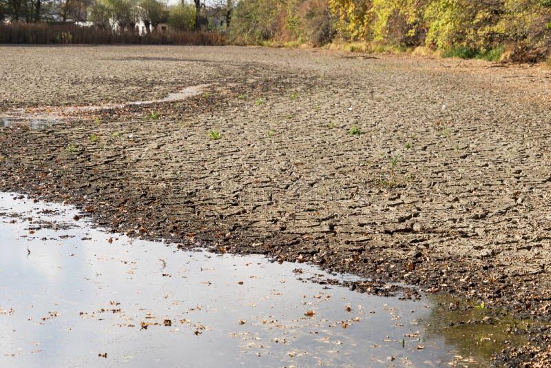 L'eau de diminution et sécheresse dans l'étang image libre de droits