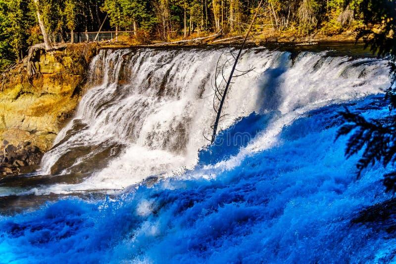 L'eau de la rivière de Murtle comme elle dégringole le tranchant de Dawson Falls en Wells Gray Provincial Park images libres de droits