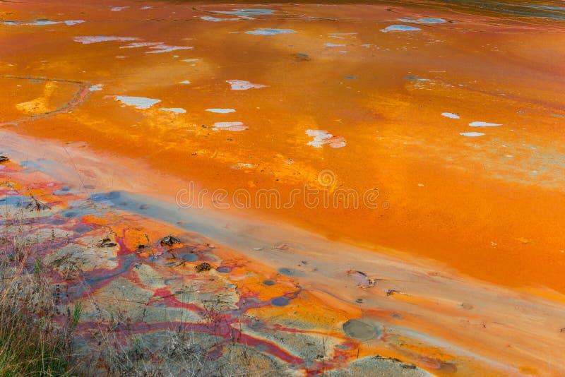 L'eau de pollution du mien de tonnelier dans le geamana, Roumanie photographie stock libre de droits