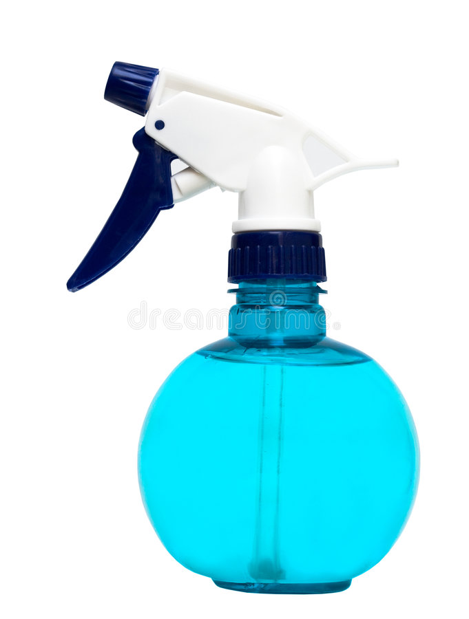 l'eau de pulvérisation en plastique de bouteille bleue images libres de droits