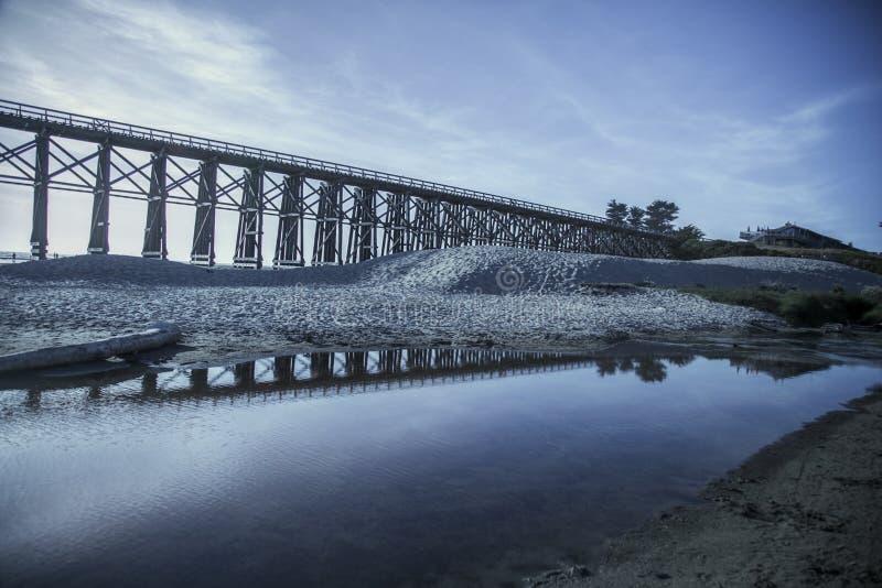 L'eau de réflexion de pont de Mendocino image stock